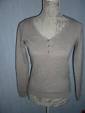 pull col en V beige taupe clair CAMAIEU Taille XS