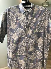 Windham Pointe Shirt Men's XL Short Sleeve Camp Hawaiian Tropical Leaf Blue