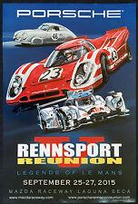 PORSCHE OFFICIAL RENNSPORT REUNION V RACECAR EVENT POSTER 356 SL 917 & 919 2015