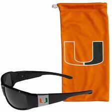 Miami Hurricanes Chrome Wrap Sunglasses with Microfiber Bag NCAA Licensed