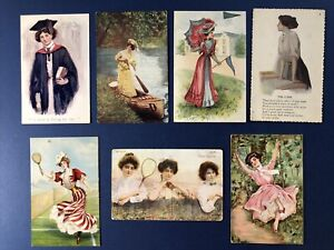 7 Pretty Ladies Greetings Antique Postcards, 1900s. Sports, Schools, w Value