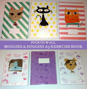 MOGGIES & DOGGIES A5 EXERCISE BOOK Lined White CAT DOG Stiff Glossy FOURTH WALL
