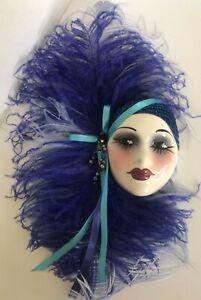 Unique Creations Lady Face Mask Art Deco Wall Decor Purple Feathers EUC