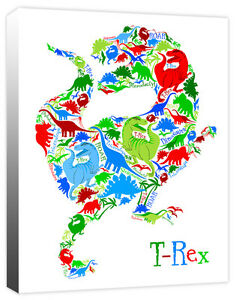T-Rex of Dinosaurs Stegosaurus Triceratops - Boy's Canvas Wall Art Print Picture