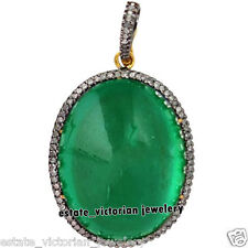 Vintage Antique 1.35cts Rose Cut Diamond Emerald Studded Silver Jewelry Pendant