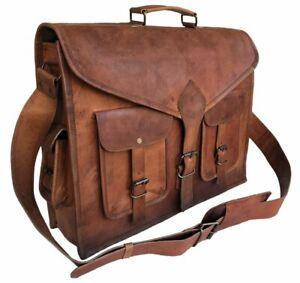 Handmade Genuine Vintage Leather Messenger Briefcase Crossbody Side Laptop Bag
