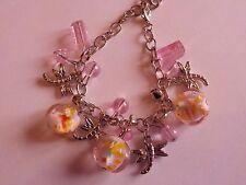 Braccialetto con perle rosa in vetro e libellule! IDEA REGALO! San Valentino!