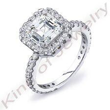 2.15 Ct Halo Square Asscher & Round U-Setting Diamond Solitaire Ring G,VS1 GIA