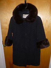 Mink FRANCE Shiny COLLAR CUFFS Fur MONSIEUR JACQUES Cape WOOL Jacket COAT XS S M