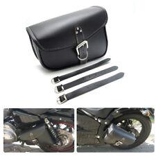 Leather Bag Motorcycle Saddlebags for Sportster XL883 1200 Kawasaki Yamaha Black