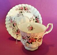 Royal Albert Pedestal TeaCup And Saucer - Lavender Rose - Gold Accents - England