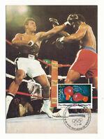 Vintage MUHAMMAD ALI v FOREMAN 1989 Boxing Postcard 1st Day Cover Barcelona 1992