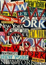 NEW YORK NEW YORK COLLAGE ON WOOD PANEL WALL OR DESK ARTWORK