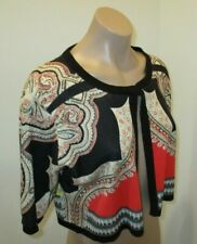 ETRO Red & Black Cropped Silk Sweater/Jacket w/ Short Sleeves Size 4 - NWT $850