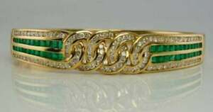 "Vintage 12.2Ct Green Emerald Diamond & Bangle 18K Yellow Gold Over 7.5"" Bracelet"