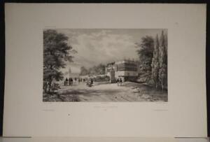 LIMA PERICHOLE PALACE PERU 1840 VAILLANT UNUSUAL ANTIQUE LITHOGRAPHIC VIEW