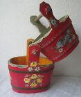 2 x Beautiful vintage red hand painted wooden Bucket  handle flowers wood bowl