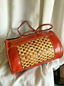 """Woven Red Leather & Natural Fibres Handbag 12"""" un-used"""