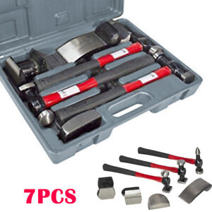 7Pc Car Auto Body Panel Repair Tool With Fibre Body Beating Hammer Set Red&Black