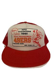 RARE NEW Vintage 1981 San Francisco 49ers NFC CHAMPIONS Snapback Trucker Hat