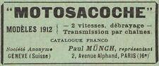 Y8199 MOTOSACOCHE - Pubblicità d'epoca - 1912 Old advertising
