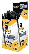 50 BIC CRISTAL PENS - LARGE 1.6MM - BLACK - FREE P&P (880648)
