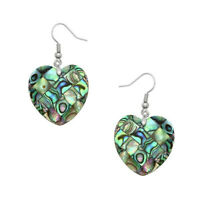 Heart Style Woman Handmade Abalone Shell Gemstone Silver Dangle Hook Earrings