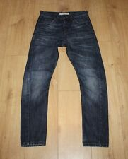 Blue Denim TOPMAN Button Skinny Carrot Twisted Crinkled Faded Jeans W 28 L 29