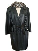 WOMEN'S LEATHER LAMBSKIN COAT SZ.1X  KNEE LENGTH PRESTON & YORK EXC. QUALITY