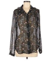 CAbi Black Floral Ruffle Collar Semi Sheer Button Front Blouse Small