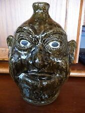 Incredible LANIER MEADERS RARE CLOSED MOUTH Tobacco Spit Glaze Face Jug c1980's