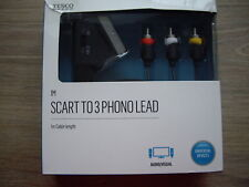 Tesco 1m length Nickel Plated Scart to 3 Phono Lead BNIB