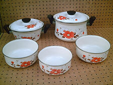 "SANKO ""Southern Flowers"" 5-Piece Set Enamel Cookware Pots! Tops! Servers! Japan!"