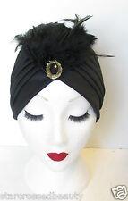 Black & Gold Feather Turban Vintage 1920s Cloche Hat 1930s Headpiece Flapper N18