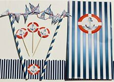 Ahoy Anchor Nautical Party Set 25 Cupcake Toppers, 1 Cake Bunting, 1 Cake Frill