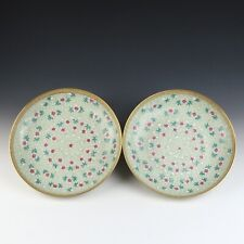 Pair of Antique Chinese Famille Rose Porcelain Plate