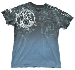 Affliction Live Fast Mens Large Distressed Logo Cross Spell Out Graphic T Shirt