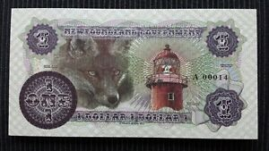 NEWFOUNDLAND $1 Dollar 2017 Shanawdithit Low Serial A 00014 FANTASY Banknote