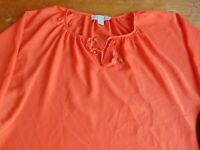 MICHAEL KORS Womens Orange 3/4 Sleeve Polyester Top Tunic Blouse Size Small B47