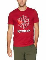 REEBOK Classic Foundation Crest Logo T-Shirt sz S Small Cranberry Red White