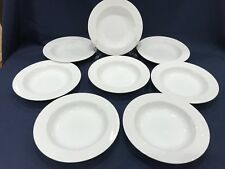 """Factory 2nds Set 8 Mikasa CLASSIC FLAIR WHITE K1991 Rimmed Soup Pasta Bowls 9"""""""