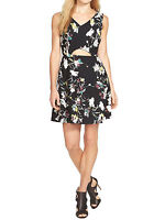 New Jessica Simpson Black Lillian Floral Print Cut Out Dress Size 10 to 18