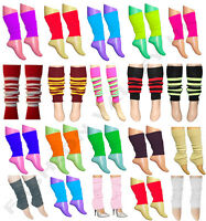 ADULT GIRL'S TEEN 80'S DANCE WEAR PLAIN RIBBED LEG WARMERS LEGWARMER FANCY DRESS