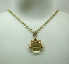 Edwardian 9ct Gold And Citrine Spinner Fob On 9ct Gold Belcher Chain