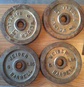 """4 WEIDER Standard 1"""" 5 Lb Weight Plates 20 Pounds Total Standard Grip Barbell"""