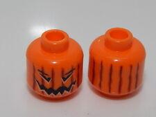Lego Minifig, Head Orange Pumpkin Dual Sided Angry #33