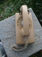 Vintage BEIGE ROTARY DIAL WALL PHONE TELEPHONE CURLY CORD Northern Electric