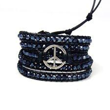 Twilight Dreams Peace Sign Core Crystal Wrap Bracelet