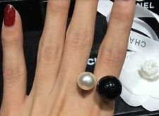 Oversized faux Pearl Double black white open ring adjustable gold cuff wrap uk
