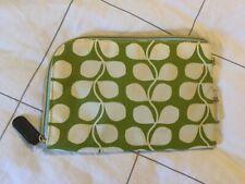 Orla Kiely Etc Zipper Pouch Wild Leaf Stem Pattern Rounded Corner Green White